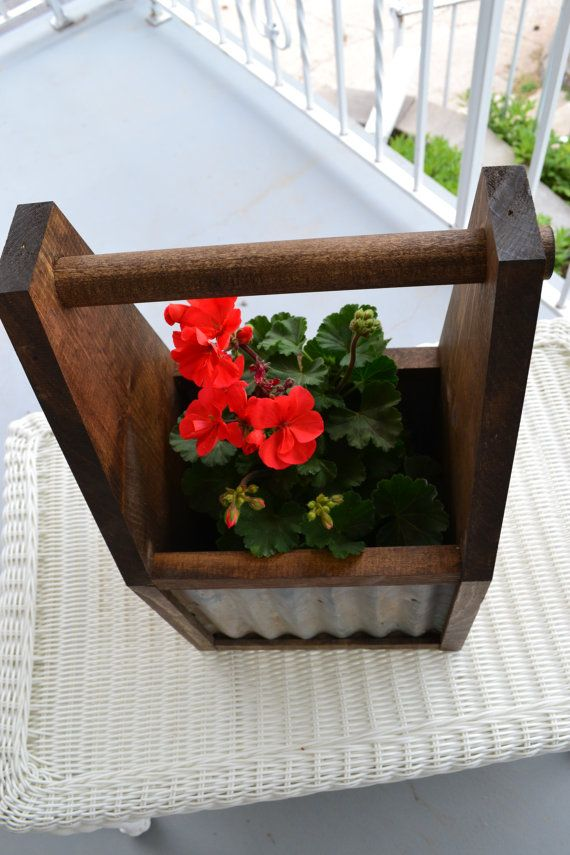 Wooden Tool Box Planter With Corrugated Tin Sides Wood Tool Boxes