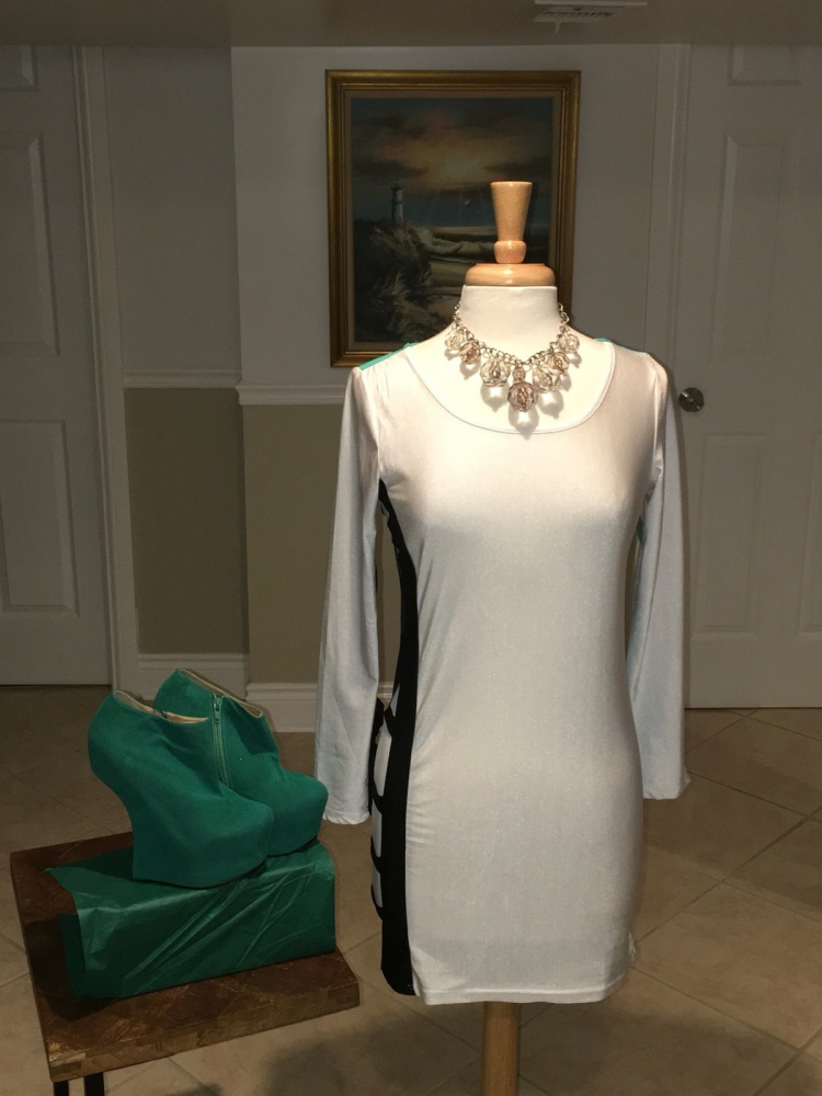 Sexy Dress. White turquoise and black dress with cut out design on one side