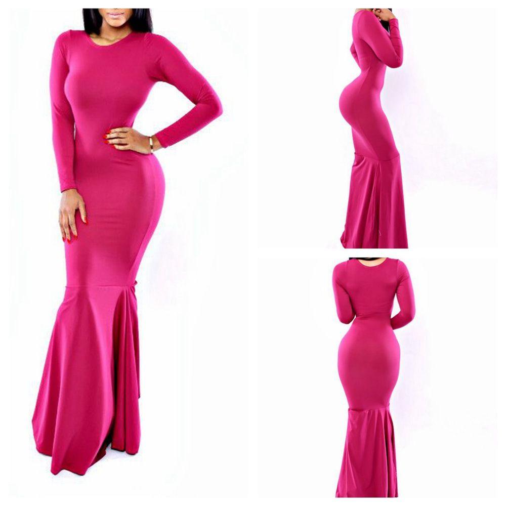 New sexy women casual shaped knitting maxi dress natural waist rose