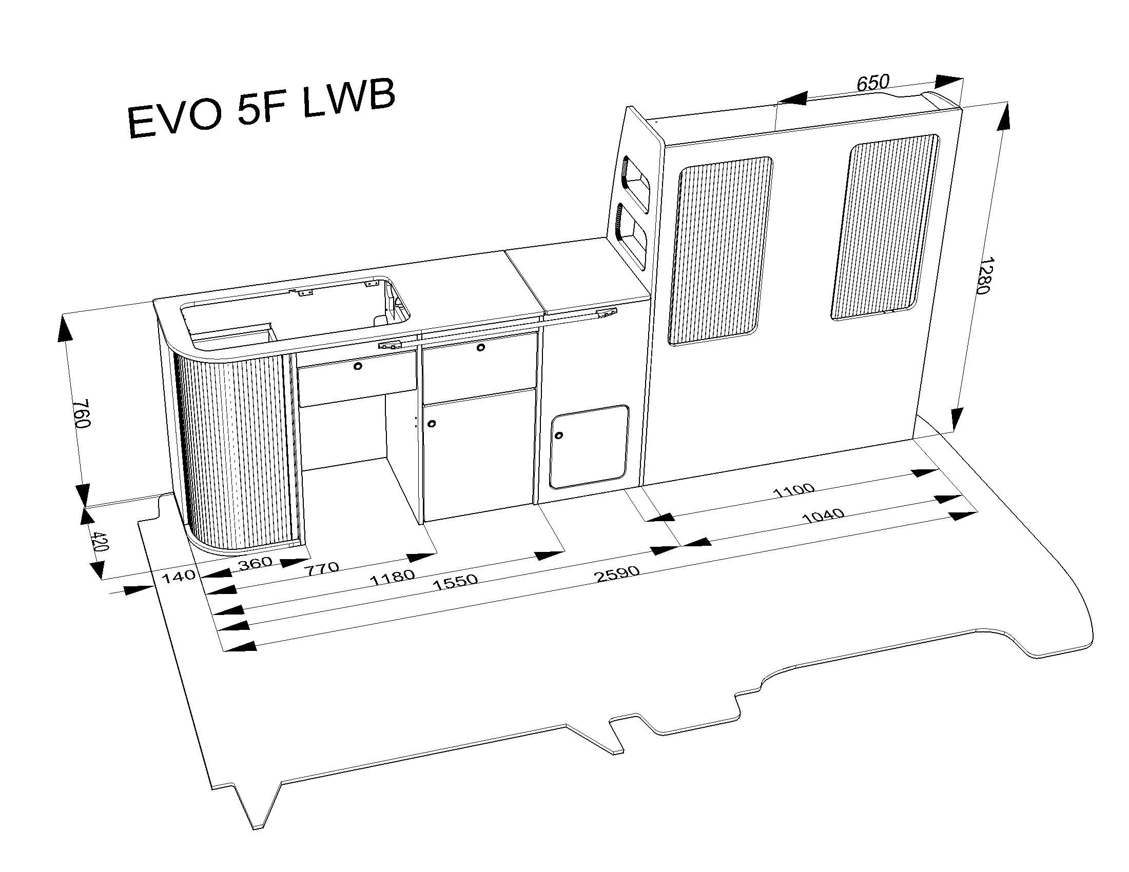 Evo 5 4f Lwb T4 T5 T6 Curved Kit Front Loading Fridge