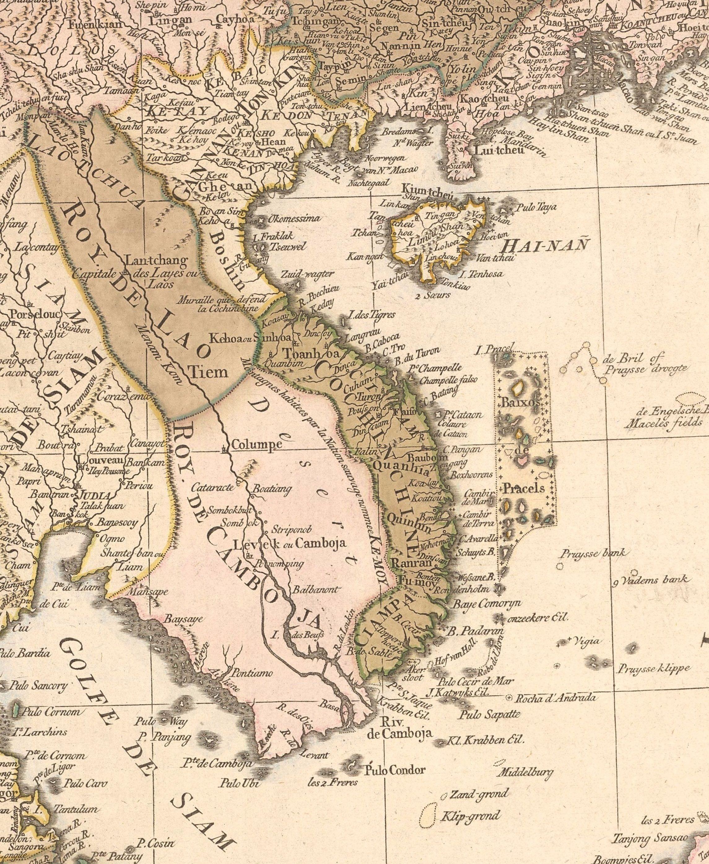 Kambodscha Karte.Sudostasien 1760 Karte Vietnam Laos Kambodscha