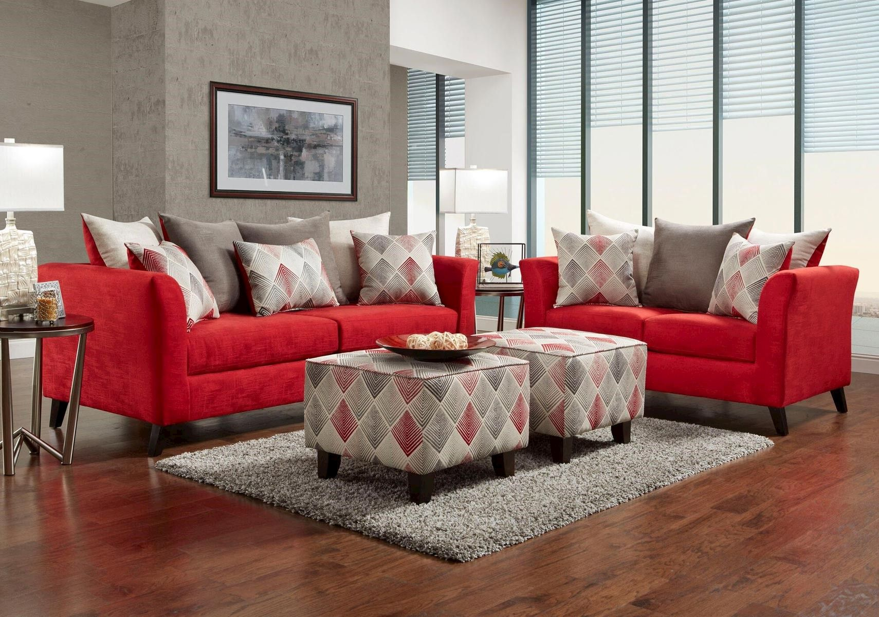 Lacks | Stix 2-Pc Red Living Room Set | Living Rooms | Red ...
