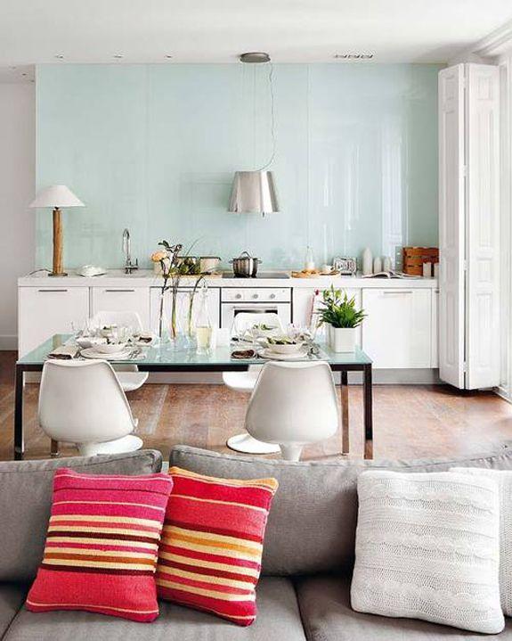 blueish green studio kitchen
