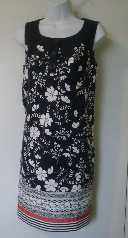 19c743e6180 Ann Taylor LOFT Navy   White print cotton dress size 4  AnnTaylorLOFT   Shift  Festive