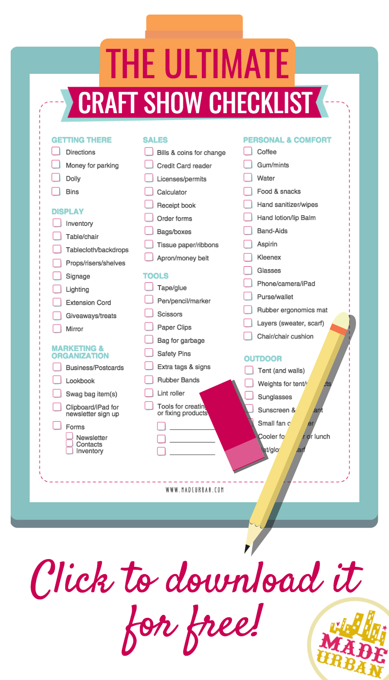 Free printable craft show checklist covering what you need to bring 5 standout display elements w free checklist page made urban reheart Choice Image