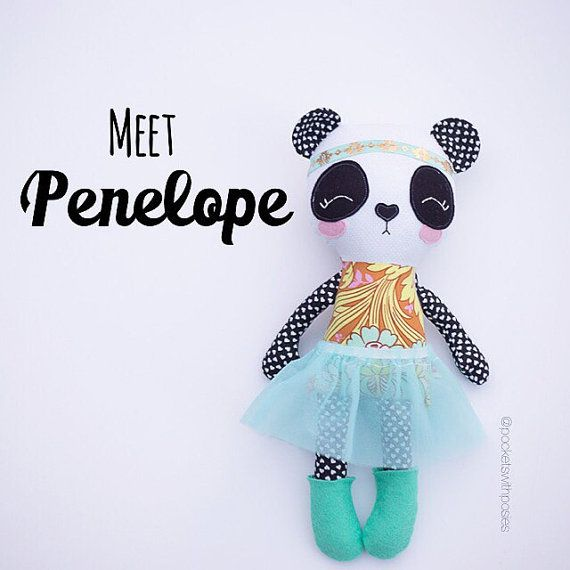 Penelope the Panda 17 Cloth Rag Doll with by PocketswithPosies