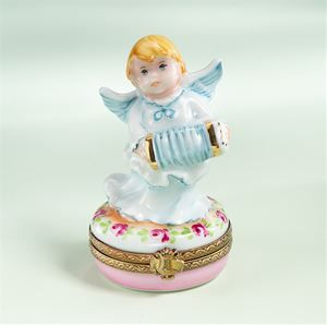 Limoges Cherub with Accordion Box The Cottage Shop