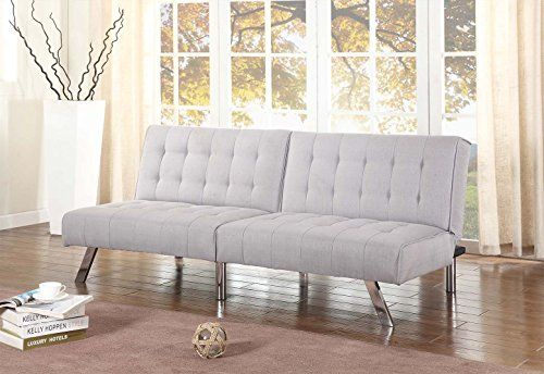 Light Grey Linen With Split Back Adjustable Klik Klak Sofa Futon