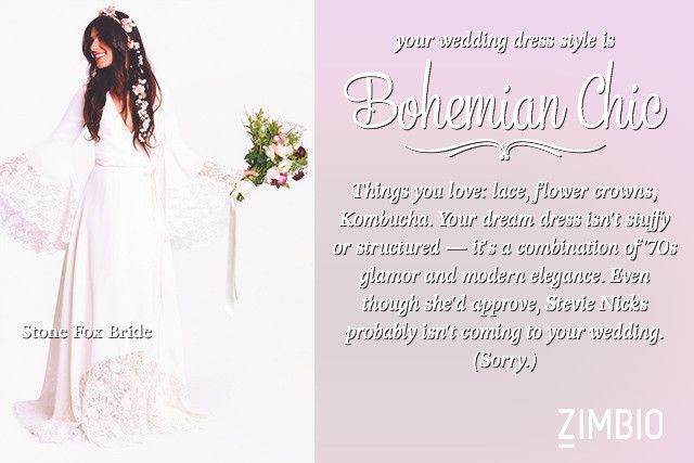 My Wedding Dress Should Be A Bohemian Chic Which Style Is For Younull