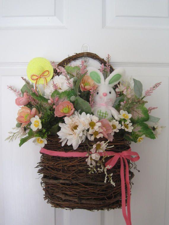 SALE Easter Door Basket Easter Wreath Easter Bunny by FunFlorals