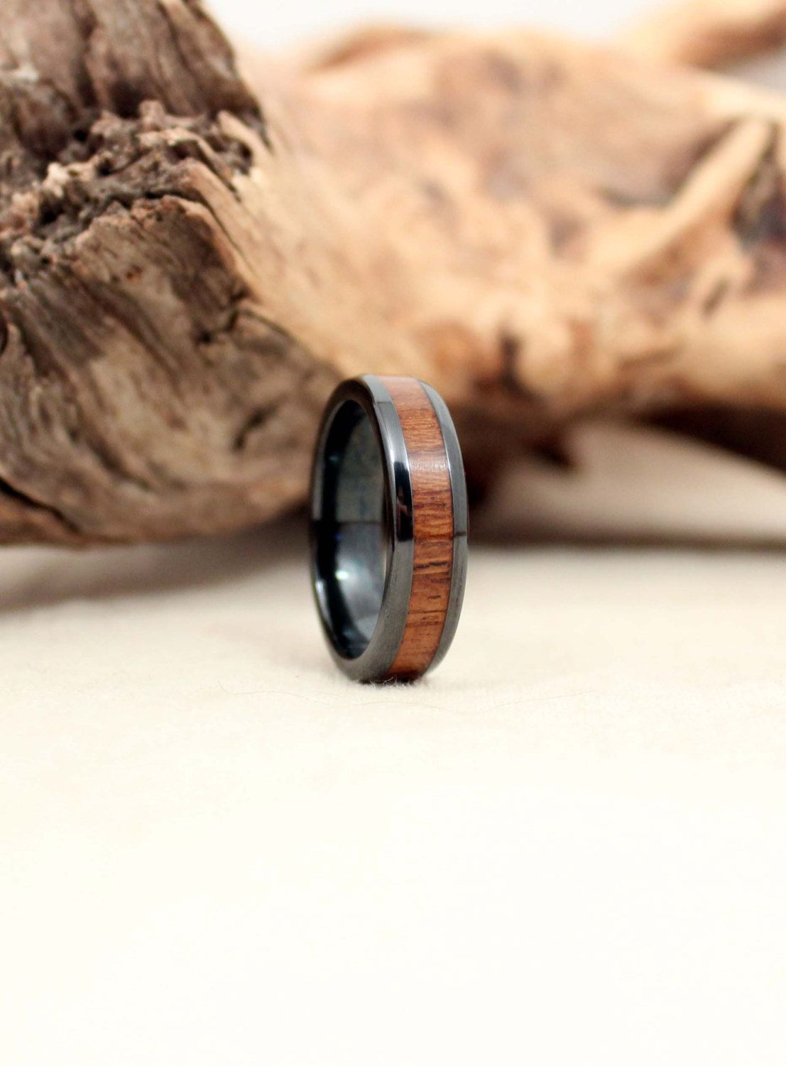 wedding titanium mens men teak wood and rings metal duality products ring band s