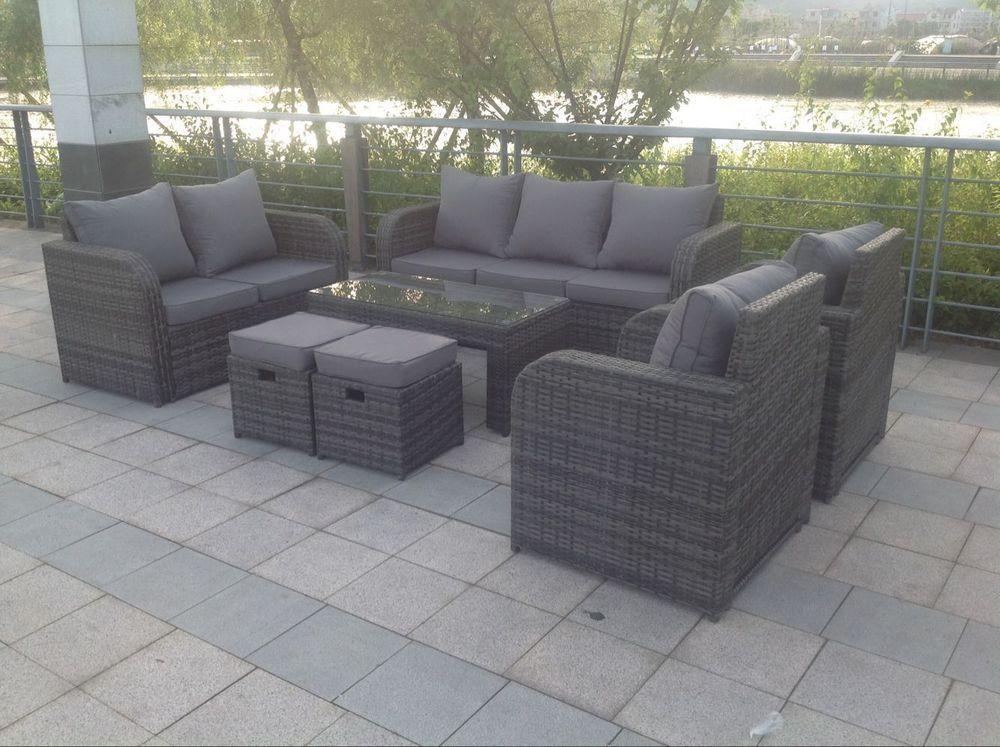 9 Seater Rattan Garden Furniture Set Sofa Recliner Chairs