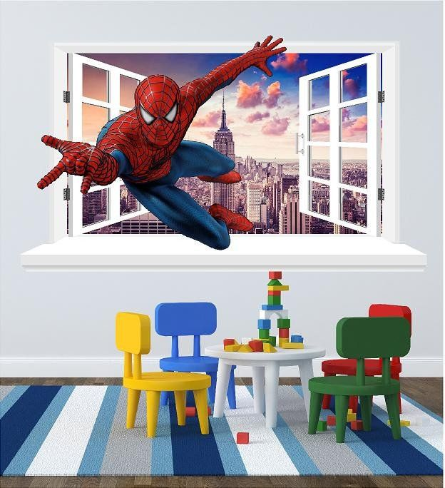Spiderman 3D Window Decal For The Wall (size 58 X 100 Cm)