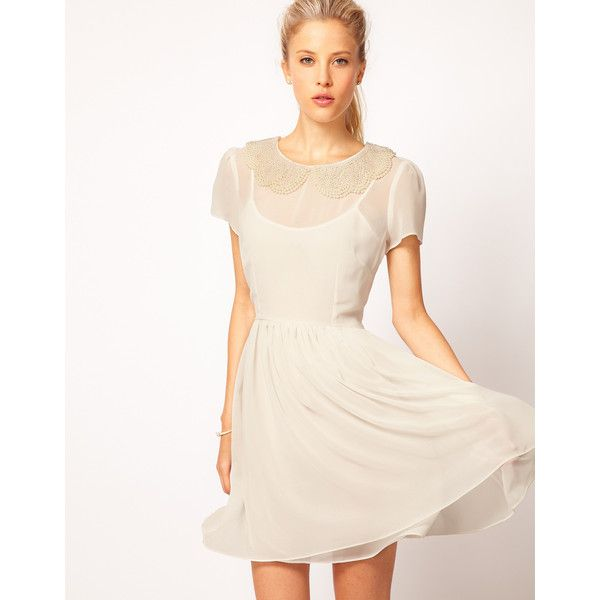 Asos Skater Dress With Pearl Embellished Collar ($48) ❤ liked on Polyvore