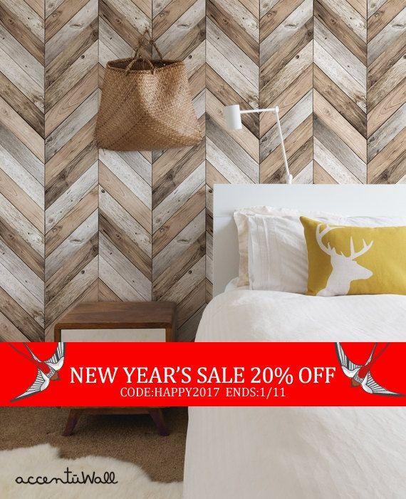End Of Year Sale Chevron Wood Herringbone by AccentuWall on Etsy