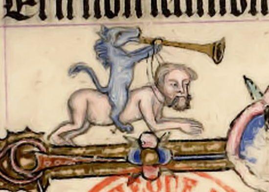 """Horse Riding a Man"".  Bibliothèque Mazarine MS 520, 14th? c. Online: http://liberfloridus.cines.fr/cgi-bin/affich_planche?Paris,_Bibl._Mazarine/ms.%200520/5/55/0+0,0,0…"