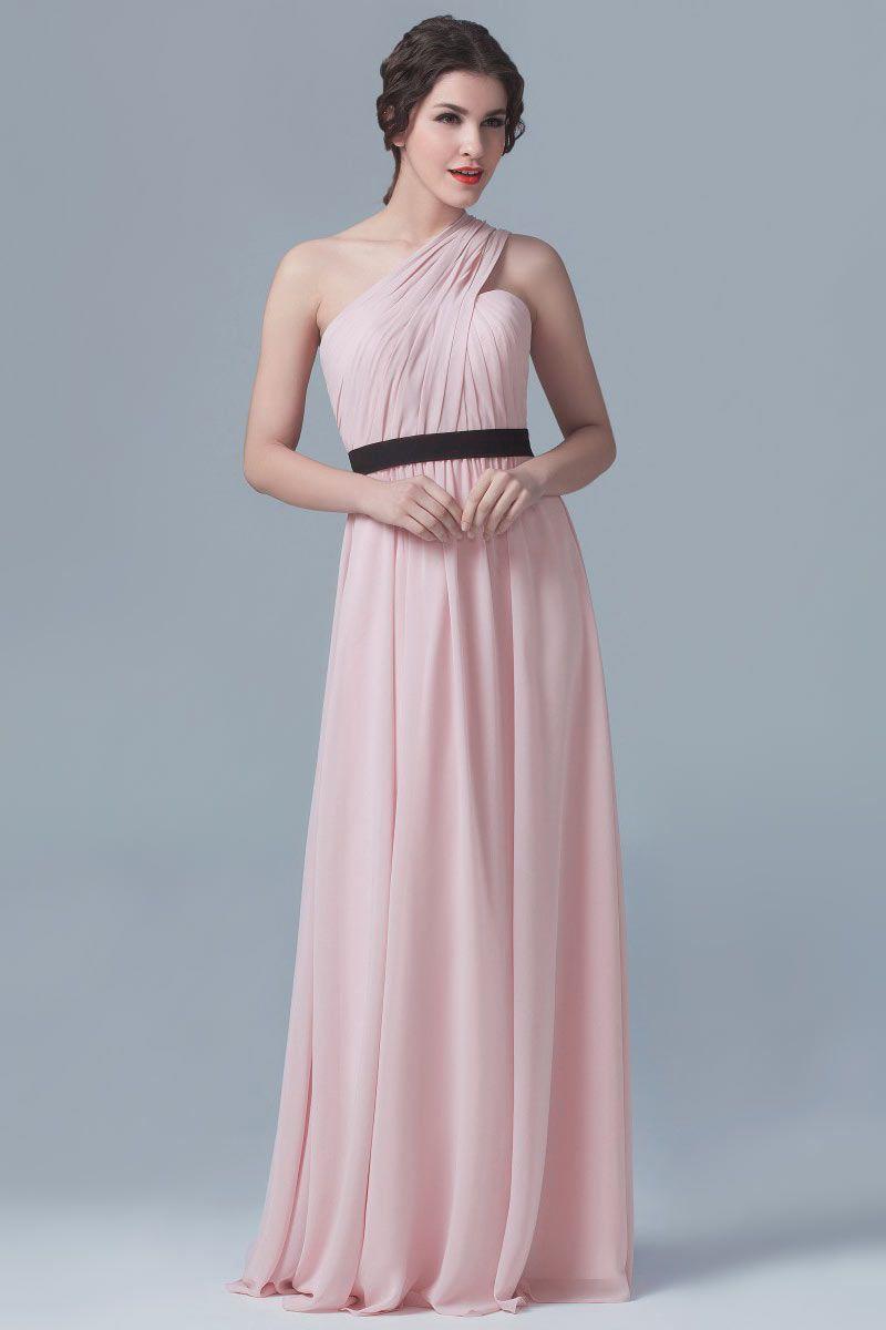 Robe de gala rose poudre asymétrique drapée taille ceinturée noire ...