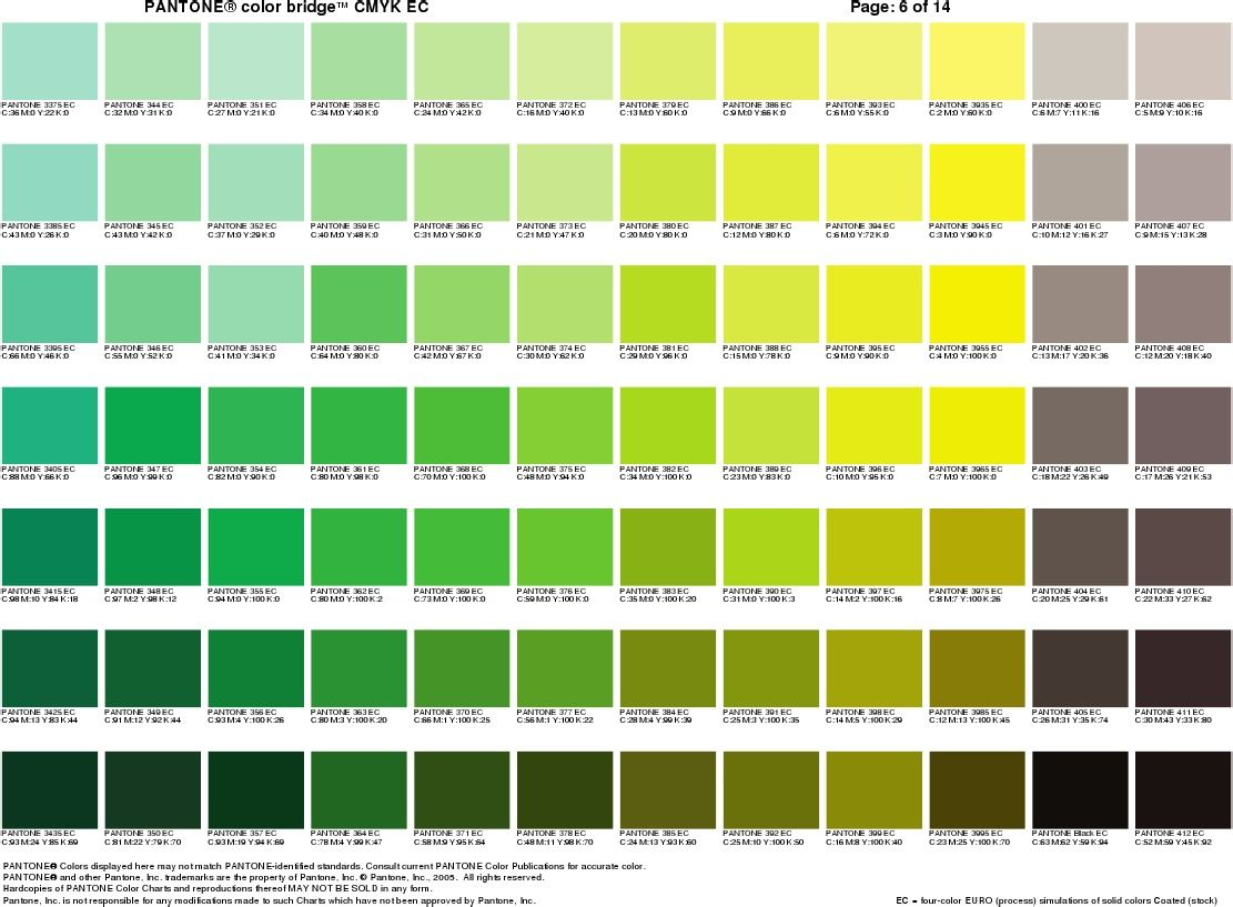 Pantone cheat sheet 5 pantone pinterest pantone - Gama de color verde ...