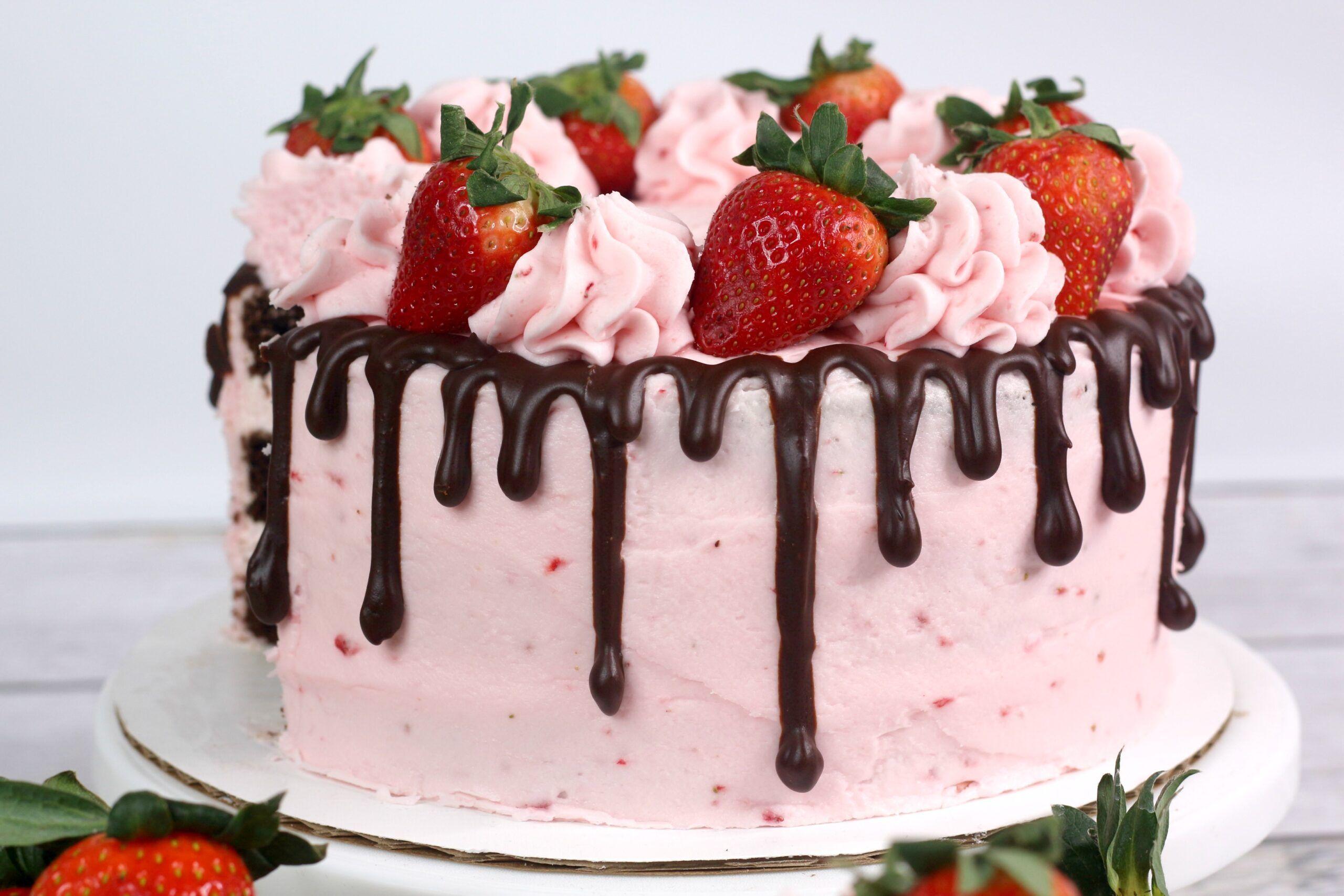 Phenomenal Chocolate Kahlua Cake With Strawberry Buttercream Frosting Funny Birthday Cards Online Elaedamsfinfo