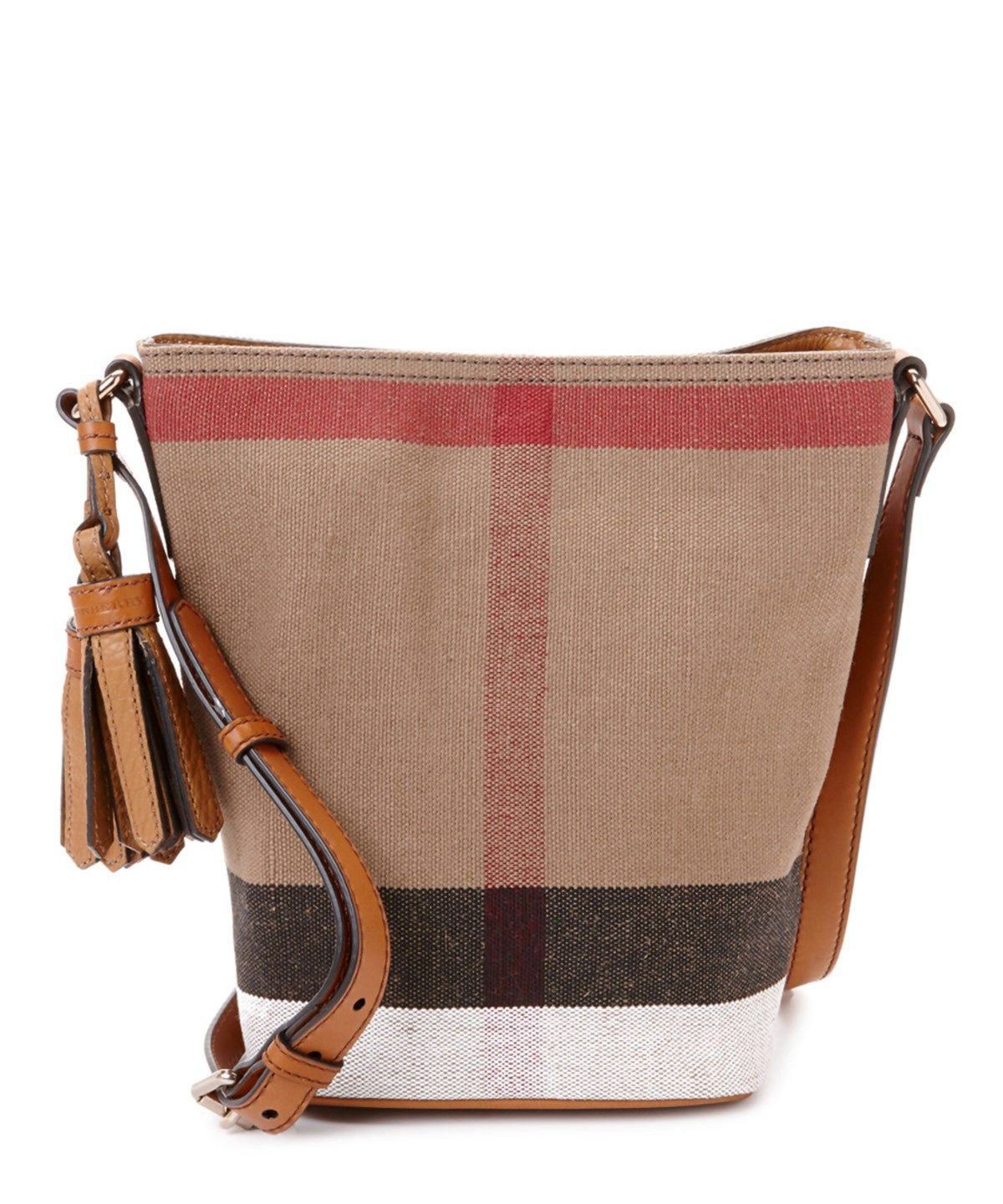 d0d7f881d1d9 BURBERRY Burberry Ashby Small Canvas Check  Amp  Leather Bucket Bag .   burberry  bags  shoulder bags  leather  canvas  bucket  lining