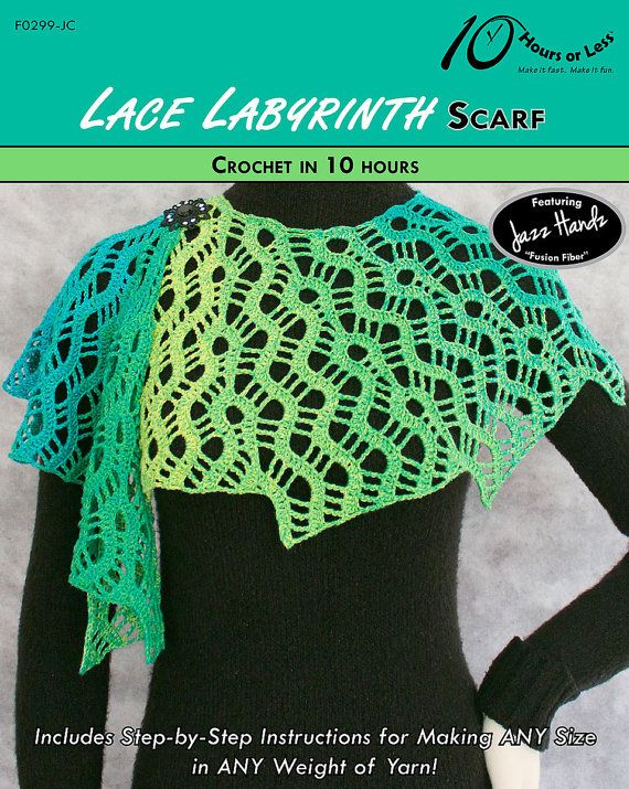 LACE LABYRINTH Crochet Scarf Pattern Digital File by 10HoursorLess
