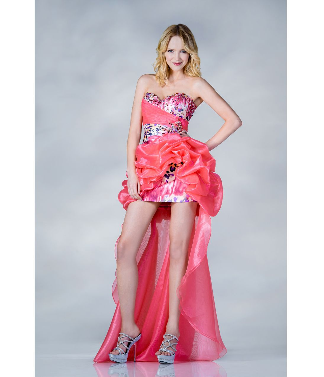 2013 Prom Dresses - Coral Strapless Organza High Low Prom Dress ...