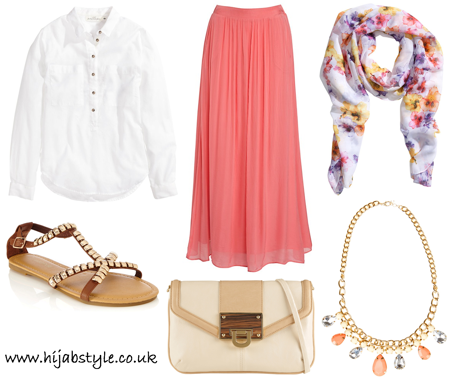 Pair with a white shirt, maxi skirt, floral hijab and flat sandals - Modest White Shirt Outfit