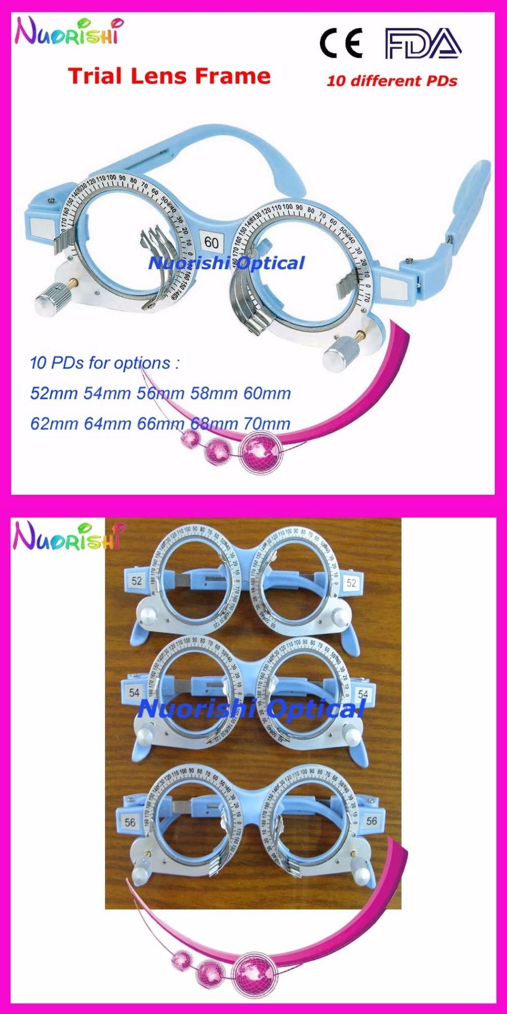 3baa39f36e3 XD03 Retail Light Blue Fixed PD Distance Optical Optometry Trial Lens Frame  10 Different Colors For