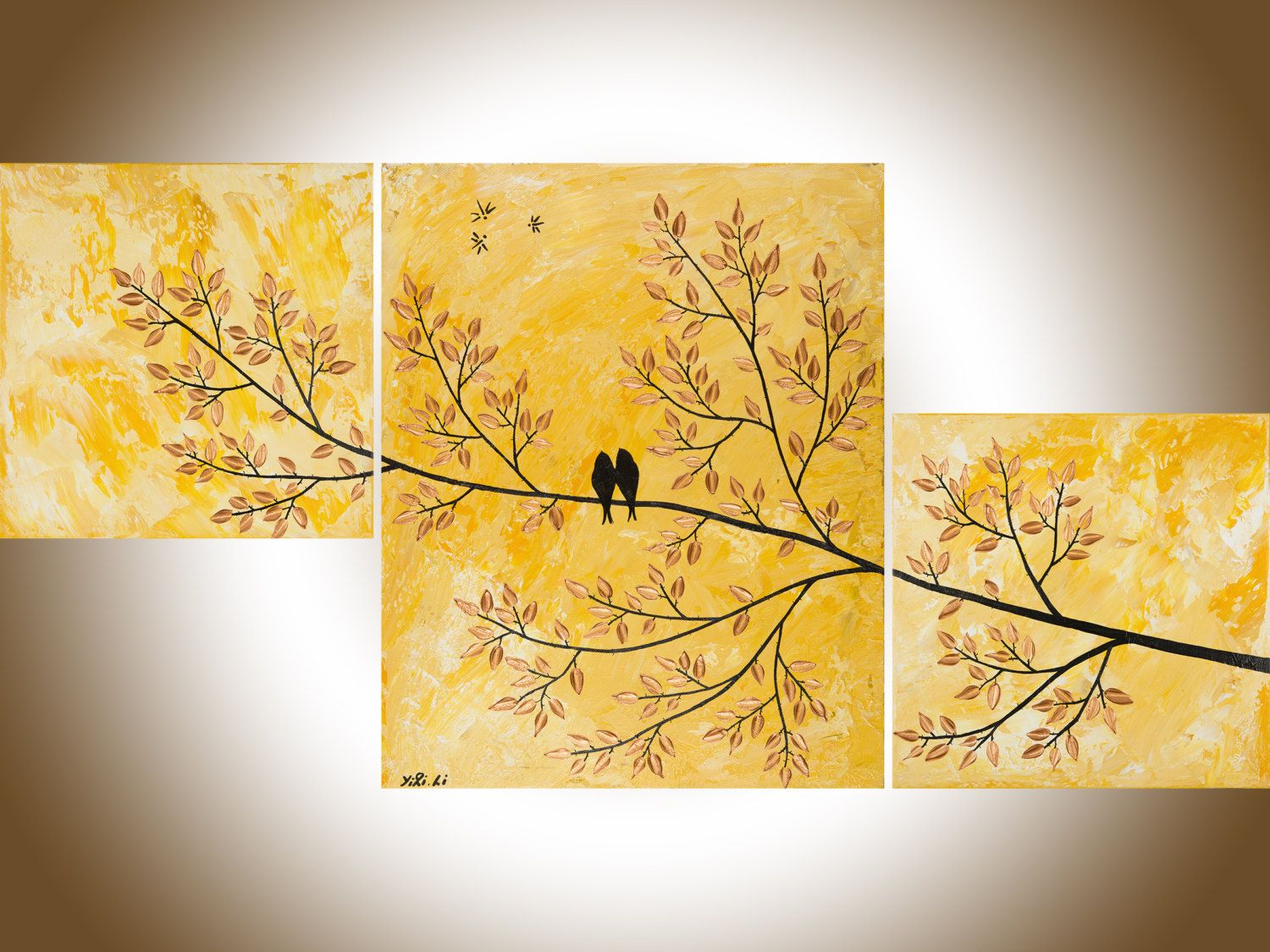 colorful bird art set of 3 wall art acrylic landscape painting home ...