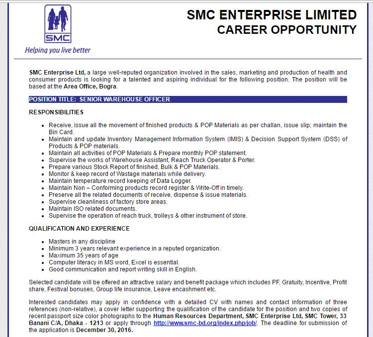 SMC Enterprise Ltd SENIOR WAREHOUSE OFFICER Job Circular January - merchandiser job description