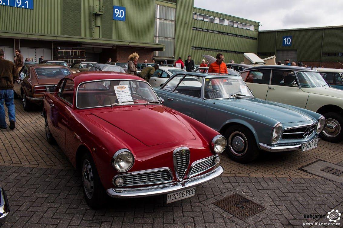 #Alfa_Romeo #Giulietta #Sprint et #Mercedes_Benz #Pagode au salon #TechnoClassica Essen reportage complet : http://newsdanciennes.com/2016/04/11/techno-classica-essen-reportage-plus-grand-salon-deurope/ #ClassicCar #VintageCar #Voiture #Ancienne