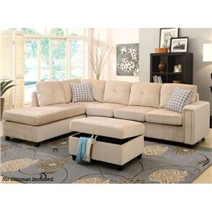 Acme Furniture Belville Beige Velvet Sectional Sofa with Reversible Pillows - The Acme Furniture Belville Beige Velvet Sectional Sofa w/Pillows (Reversible) ...  sc 1 st  Pinterest : belleville sectional sofa - Sectionals, Sofas & Couches