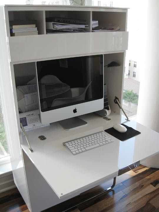 look kara 39 s stylish mini office pinterest versteckter schreibtisch schreibtische und imac. Black Bedroom Furniture Sets. Home Design Ideas