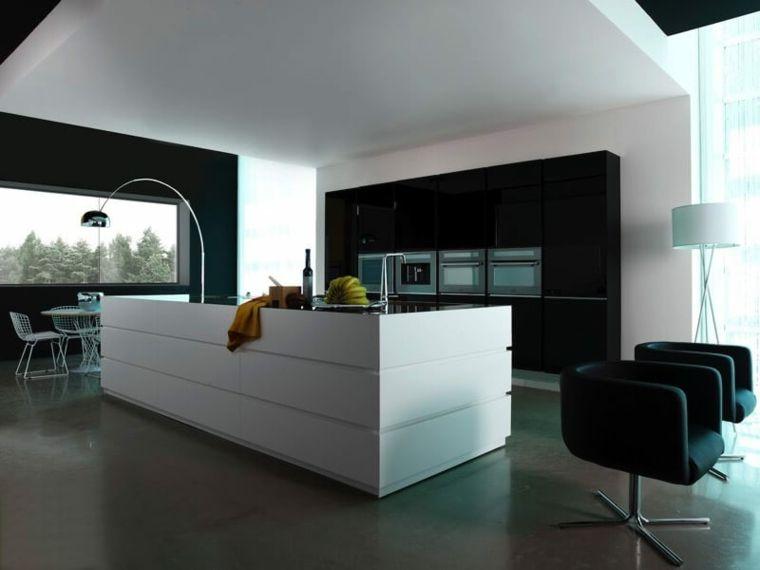 stile essenziale cucine moderne con una grande isola bianca ...