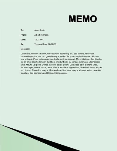 Corner Line Memorandum  Memo Template Free