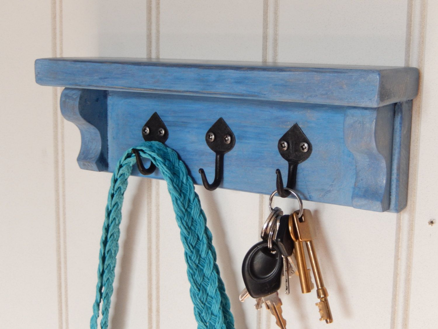 Painted Blue Shelf With Gothic Style Iron Hooks For Keys Dog Leads Tea Towels