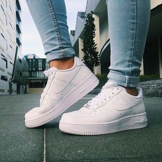 reputable site b084d a541b shoes sneakers white nike adidas high tops nike high tops white nikes denim  air…