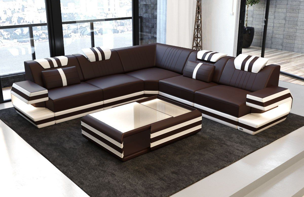 Design Sectional Sofa San Antonio L Shape With Led Lights Modern