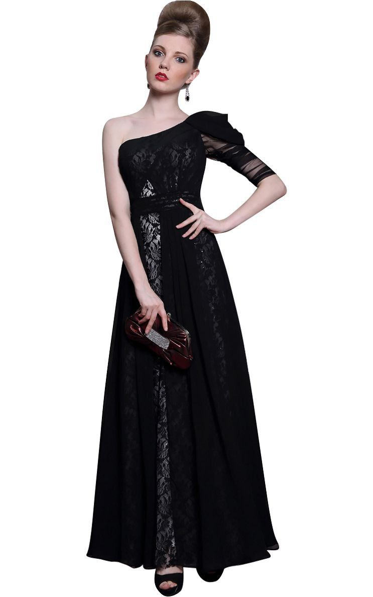 Beautyemily one shoulder lace evening long maxi party prom formal