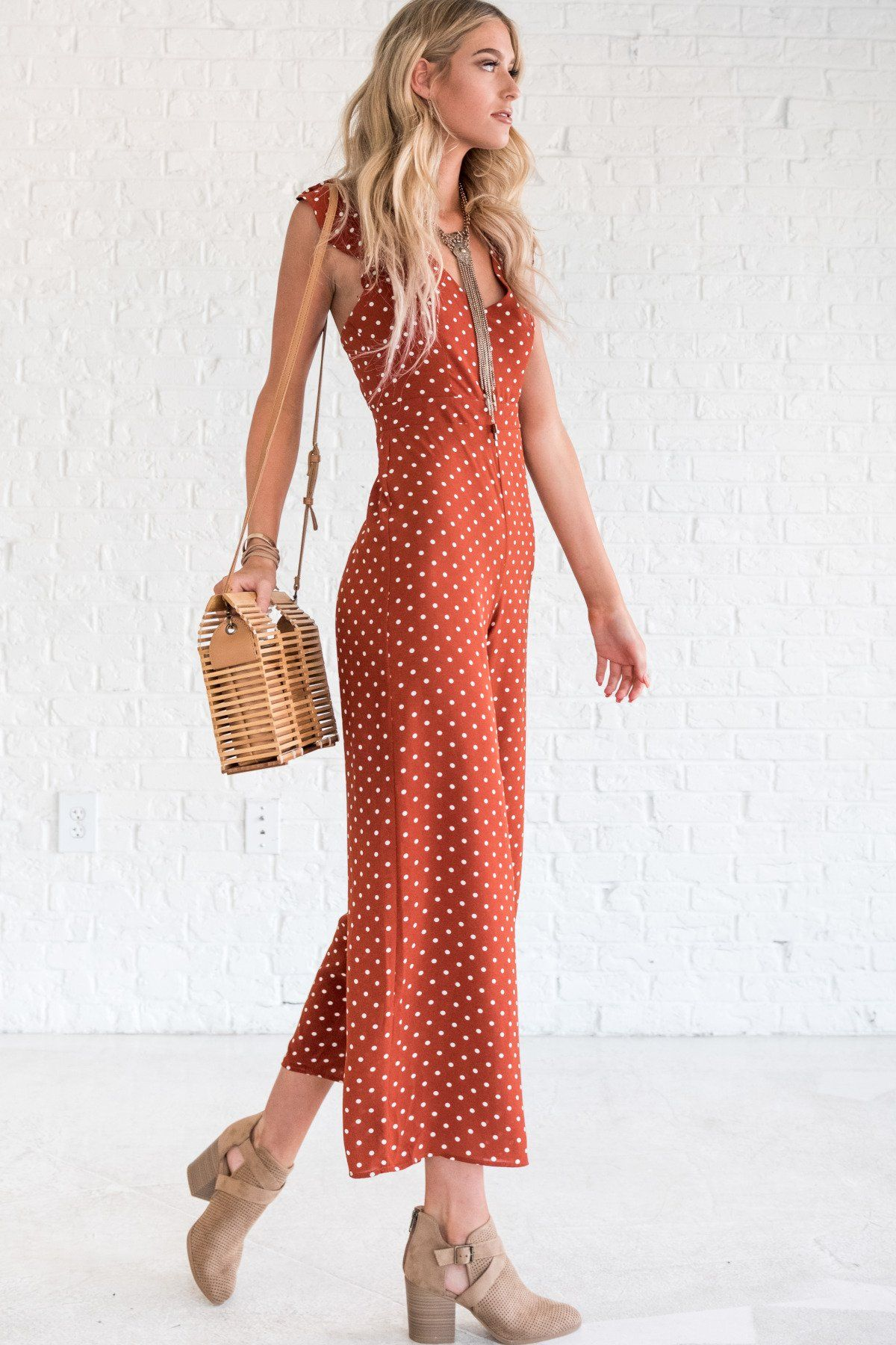 fb644266989 Oh Honey Rust Polka Dot Jumpsuit in 2019