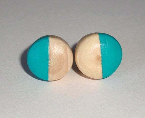Turquoise wood post earrings stud button fall by paragraphloop, $7.00