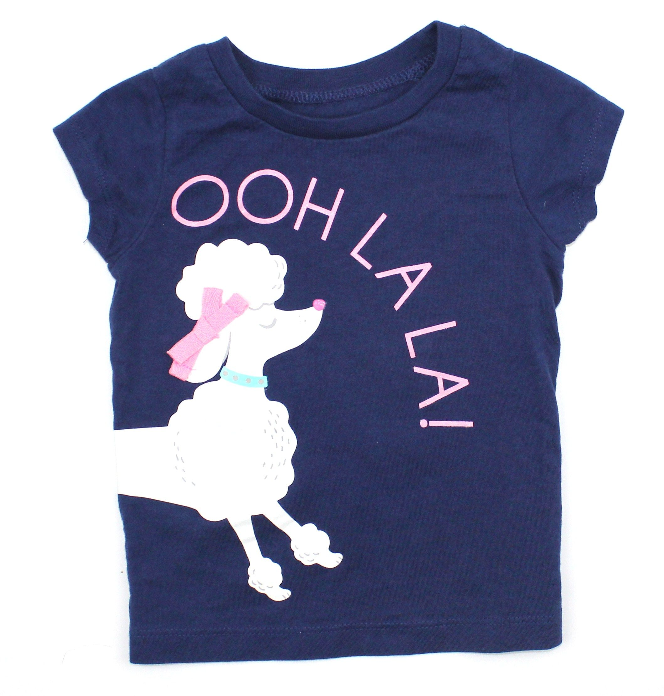Toddler Girls Navy T shirt with Poodle and Ooh La La Size 18