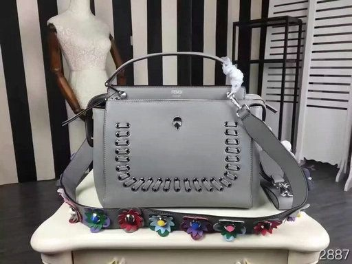 499587b182 2016 New Fendi Dotcom Lace-Up Satchel Bag in Grey Leather