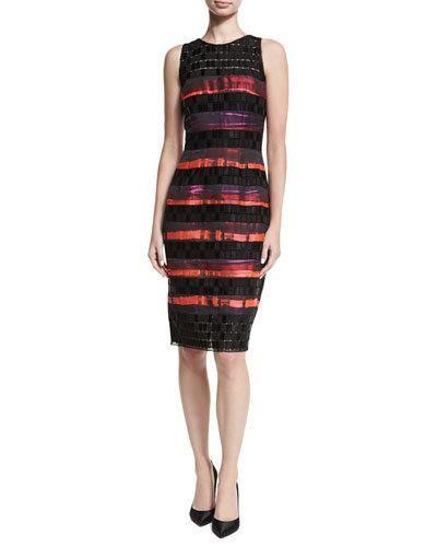 dae0f356 Sleeveless Sequined Lace Striped Cocktail Sheath Dress, Geranium ...