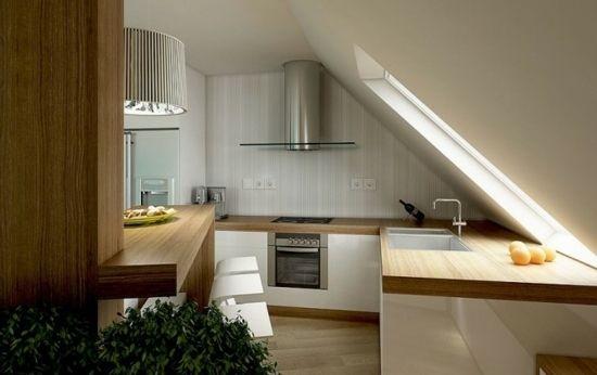 kleine küche dachschräge fenster design | dachausbau | pinterest