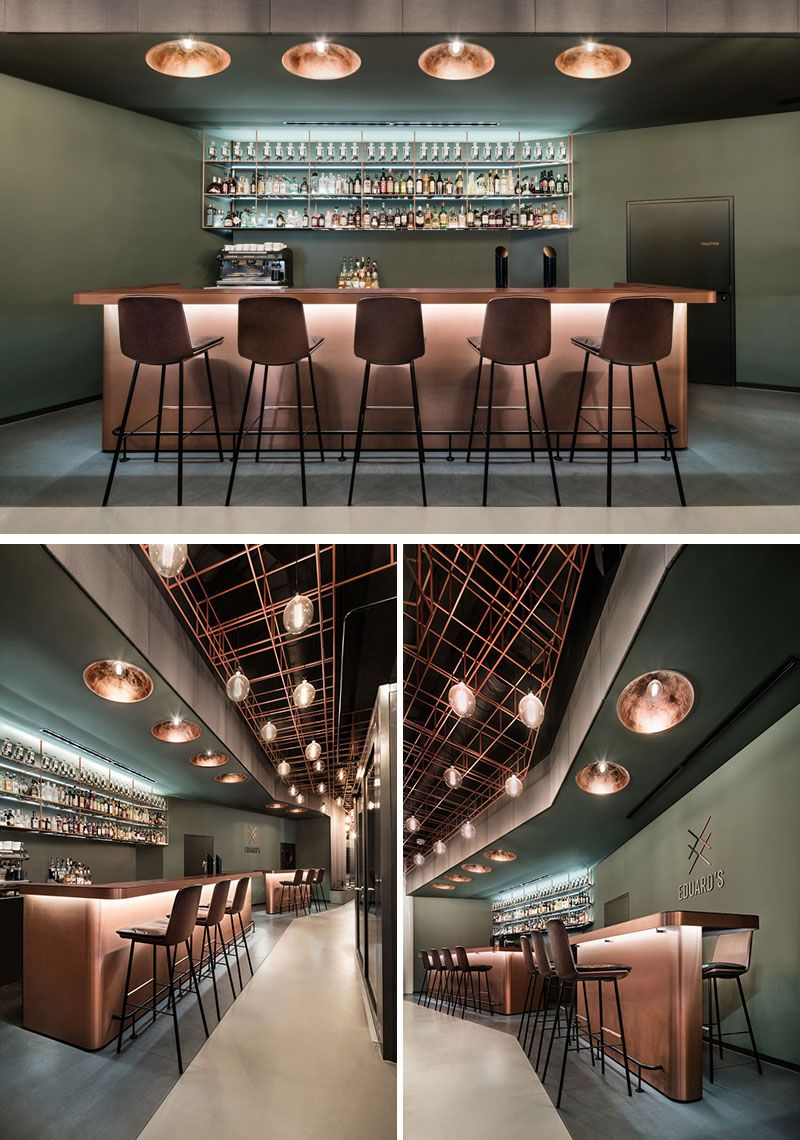 This Bar In Stuttgart Has Walls Of Glass That Show Off The Wood And Copper Interior Copper Interior Pub Interior Bar Interior Design