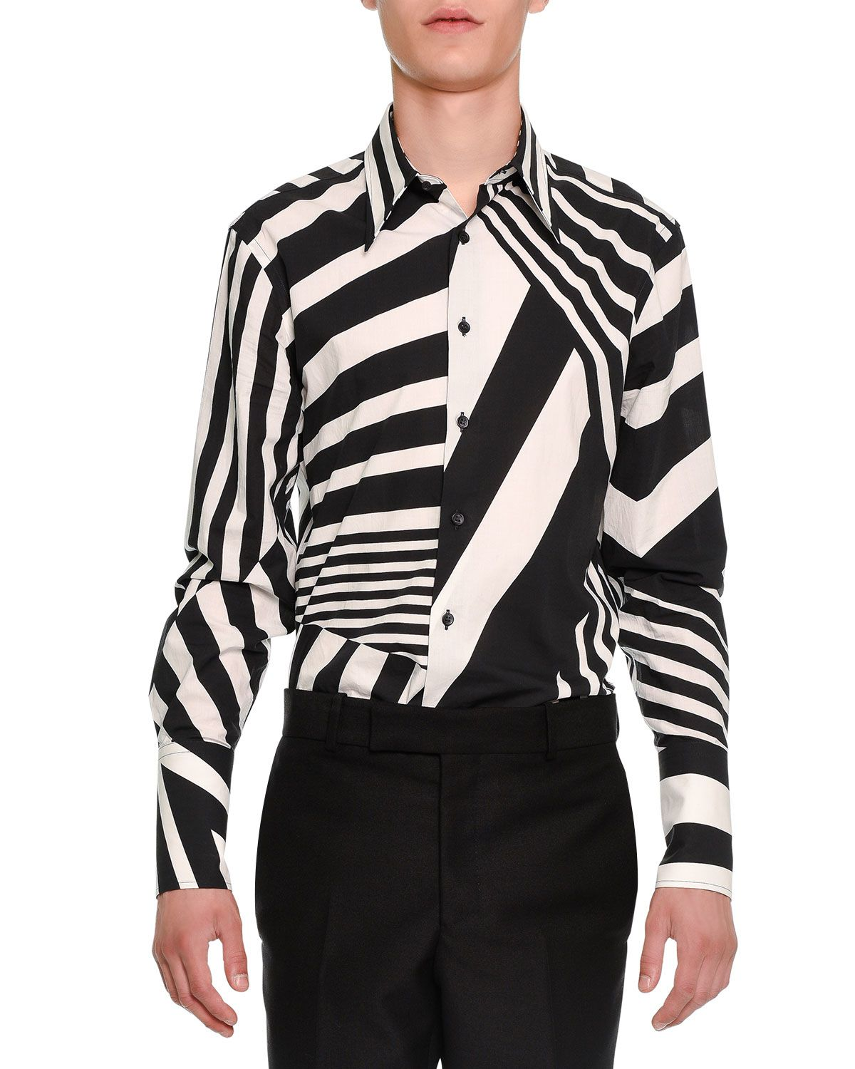 055cac7fb2 mens red & white striped dress pants | Lyst - Alexander mcqueen  Stripe-patched Button-down Shirt .