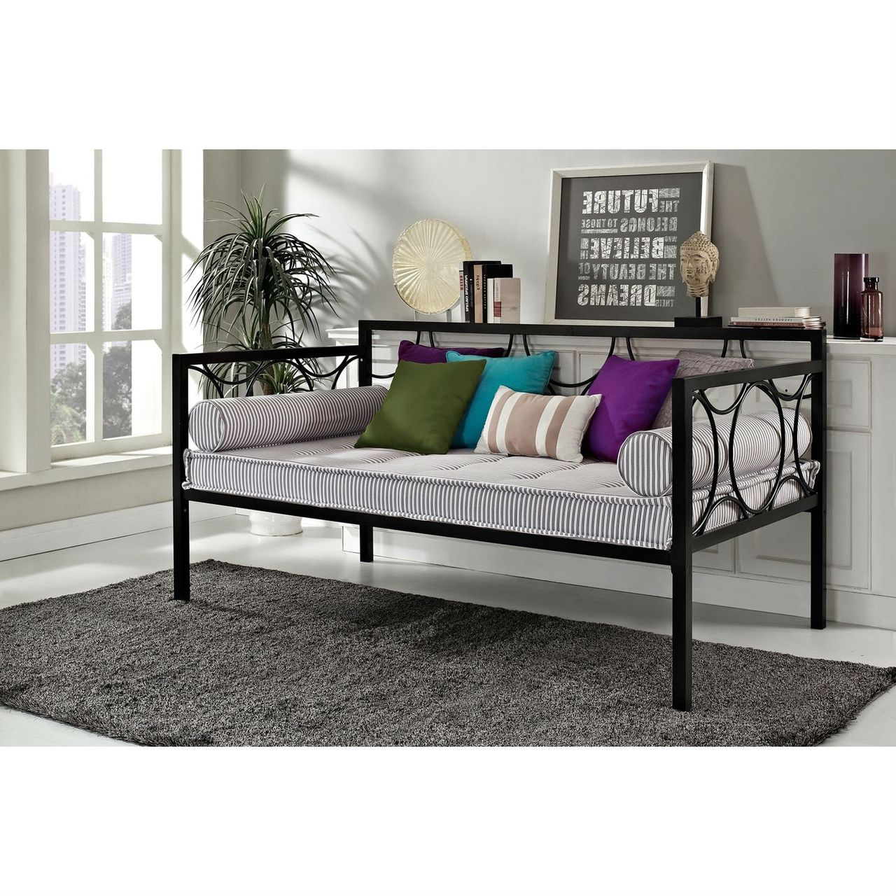 - Twin Modern Black Metal Daybeds - Use As Bed Or Seating (With