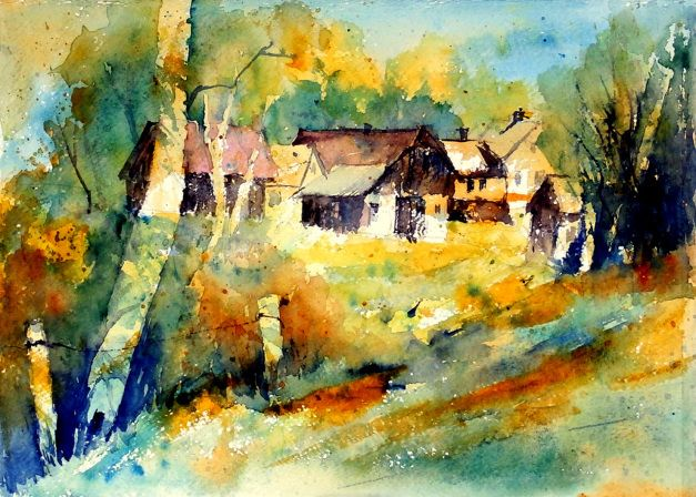 aquarell, watercolor, aquarelle, gehöft, farm, grange ...