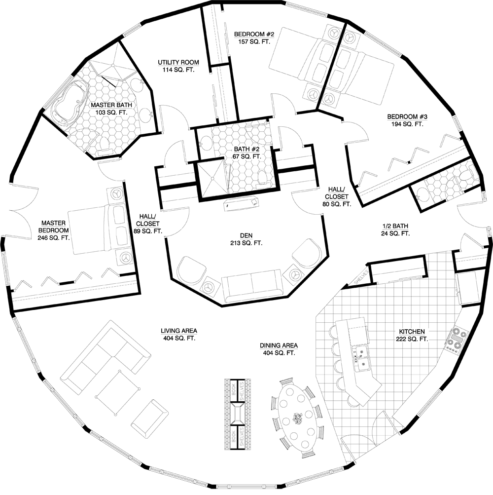 3 bedroom yurt floor plans for Round home plans